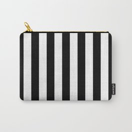 Solid Black and White Wide Vertical Cabana Tent Stripe Carry-All Pouch