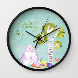 Easter Morning I- Animal Rabit Hare Bunny Spring for children Wall Clock
