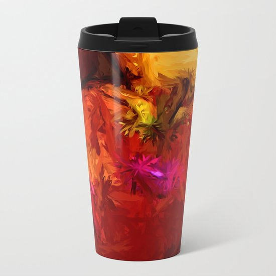 Red Apple and Gold Apples in a Blue Bowl Metal Travel Mug