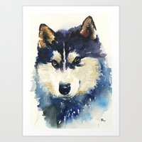 husky Art Prints featuring Husky by Jason Cai