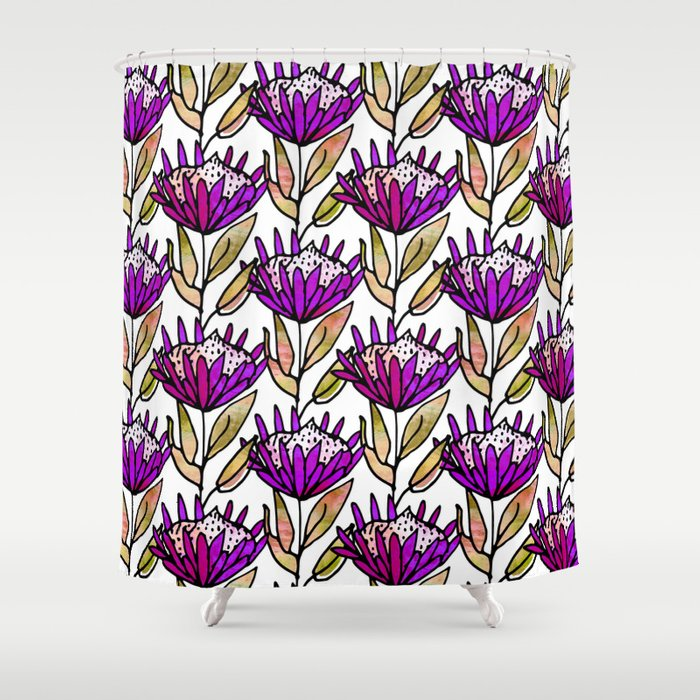 Modern Floral Protea Purple #homedecor Shower Curtain