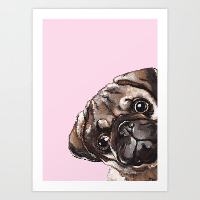 Sneaky Melancholic Pug in Pink Art Print