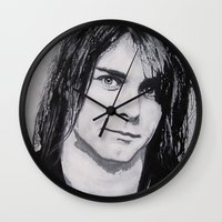 kurt cobain Wall Clocks featuring Cobain Kurt Portrait. by Dioptri Art
