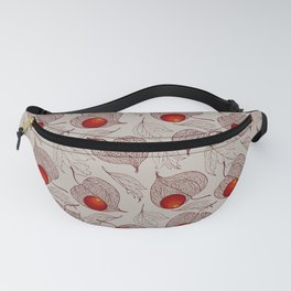 Physalis and autumn leaves Fanny Pack