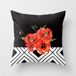 Dark Poppies Throw Pillow