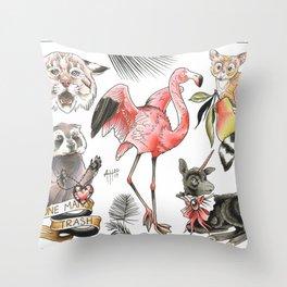 Palm Beasts Throw Pillow