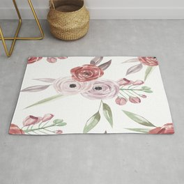 Vintage Floral Pattern Watercolor Rug