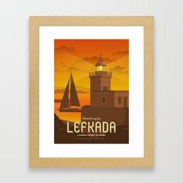 Lefkada, Lighthouse at the castle (GR) Framed Art Print