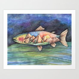 Rainbow Trout and Mountains Art Print