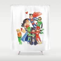 aquaman Shower Curtains featuring Justice League Hug! by Super Group Hugs