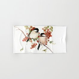 Chickadee Bird Vintage Bird Artwork, two birds, chickadees woodland design Hand & Bath Towel