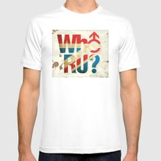 Who R U? MEDIUM White Mens Fitted Tee