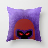 magneto Throw Pillows featuring Magneto by Sprite