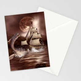 Awesome seadragon with ship Stationery Cards