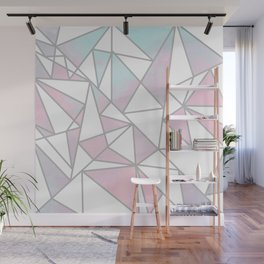 Modern white pink teal watercolor geometrical shapes Wall Mural