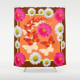 Chocolate Brown Fuchsia Pink Daisies Butterfly Art Shower Curtain