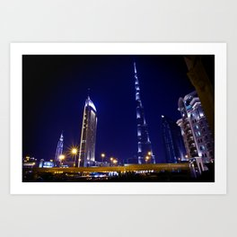 Pointing to the stars - Dubai Burj Khalifa Night Art Print