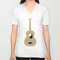 guitar V-neck T-shirts featuring GUITAR by Allyson Johnson