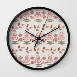 Modern flowers and leaves pattern design Wall Clock