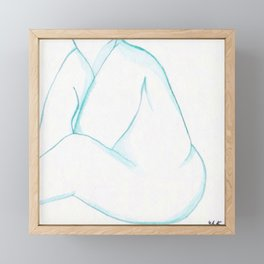 Japanese Watercolor Nude Sitting with Hands Tucked Print Framed Mini Art Print