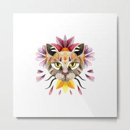 Floral cat portrait Metal Print