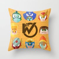 mega man Throw Pillows featuring Mega Man 2 by Jaime Ugarte