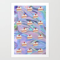 holographic Art Prints featuring Shortcake Emoji Holographic by Andy Paik