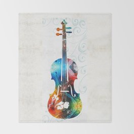 Colorful Violin Art by Sharon Cummings Throw Blanket
