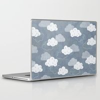 clouds Laptop & iPad Skins featuring RAIN CLOUDS by Daisy Beatrice