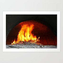 Fire inside an old stone oven Art Print