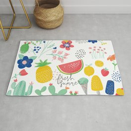 Fresh Summer Fun Desert Bloom & Fruits Pattern Rug