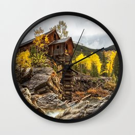 CRYSTAL MILL AUTUMN COLORADO FALL LANDSCAPE Wall Clock