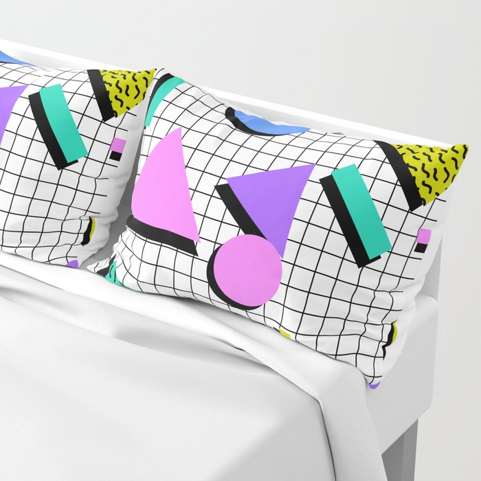 80s Retro Geometric Pattern 2 Pillow Sham