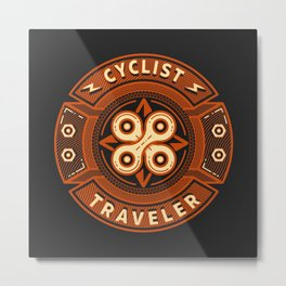 Cyclist and Traveler Metal Print