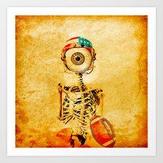 Monsieur Bone plays football  Art Print