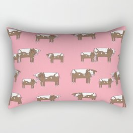 Cow farm minimal pattern animals nursery kids cattle design gifts Rectangular Pillow