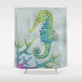 Neon Seahorse Shower Curtain