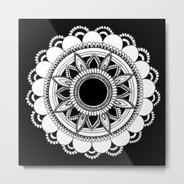 manifestation mandala black background Metal Print