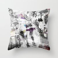newspaper Throw Pillows featuring Newspaper collage by Arken25