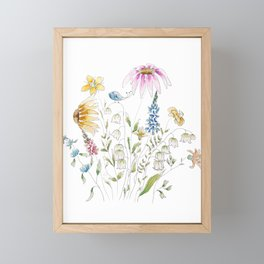 wild flowers and blue bird _ink and watercolor 1 Framed Mini Art Print