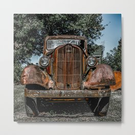 Grill of Rusted Pickup Paris Springs Missouri Route 66 Metal Print