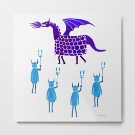 Correfoc dragon and devils * indigo & cyan palette Metal Print