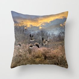 Sunset Geese Landscape Throw Pillow