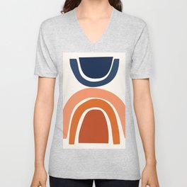 Abstract Shapes 9 in Burnt Orange and Navy Blue Unisex V-Neck