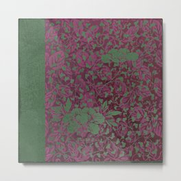 Caravans II:  Asian Print  Plum, purple green origami textile floral design Metal Print
