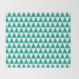 Emerald and White Triangle Pattern Throw Blanket