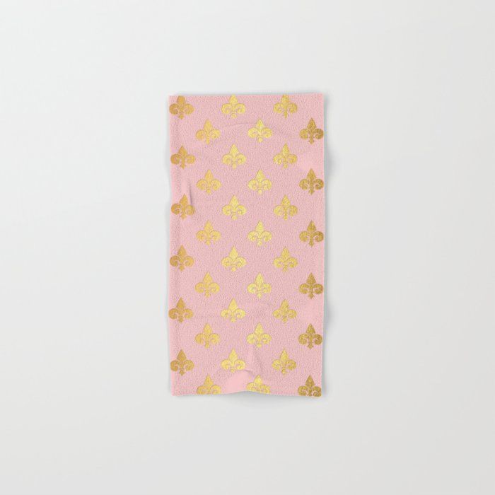 Royal gold ornaments on pink background Hand & Bath Towel