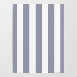 Manatee grey - solid color - white vertical lines pattern Poster