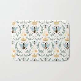 Queen Bee with Gold Crown and Laurel Frame Bath Mat