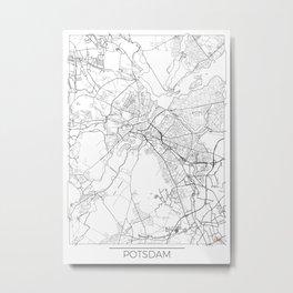 Potsdam Map White Metal Print